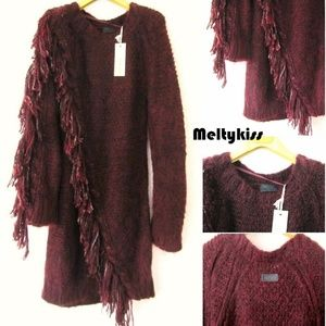 NWT AUTHENTIC DIESEL MOHAIR WOOL FRINGE KNIT DRESS